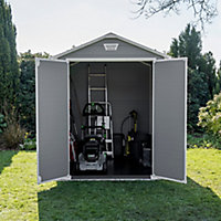Keter Manor 8x6 Apex Grey & white Plastic Shed with floor