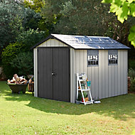 Keter Oakland 11x7.5 Apex Anthracite grey Plastic Shed with floor