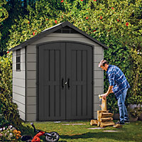 Keter Premier 7.5x7 Apex Tongue & groove Grey Shed with floor