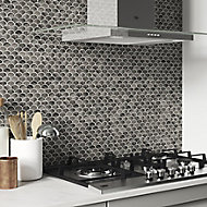 Kiwana Brown Concrete effect Aluminium Mosaic tile sheet, (L)285mm (W)296mm