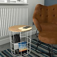 Kleca Ash veneer & white Side table (H)45cm (W)40.5cm (D)40.5cm