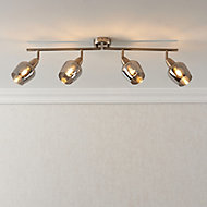 Kleo Satin Nickel effect Mains-powered 4 lamp Spotlight bar