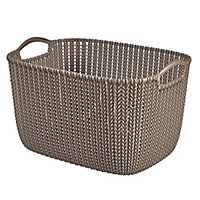 Knit collection Harvest brown 19L Plastic Storage basket (H)230mm (W)400mm