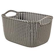 Knit collection Harvest brown 3L Plastic Storage basket (H)140mm (W)250mm