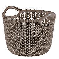 Knit collection Harvest brown 3L Plastic Storage basket (H)230mm (W)190mm