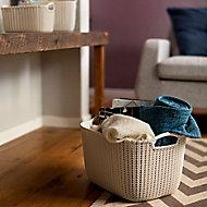 Knit collection Misty blue 19L Plastic Storage basket (H)230mm (W)400mm