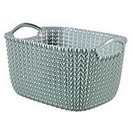Knit collection Misty blue 3L Plastic Storage basket (H)140mm (W)250mm