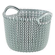 Knit collection Misty blue 3L Plastic Storage basket (H)230mm (W)190mm