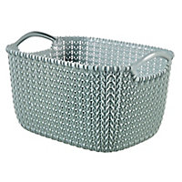 Knit collection Misty blue 8L Plastic Storage basket (H)170mm (W)300mm