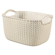 Knit collection Oasis white 3L Plastic Storage basket (H)140mm (W)250mm