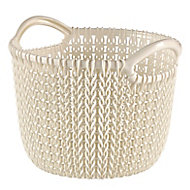 Knit collection Oasis white 3L Plastic Storage basket (H)230mm (W)190mm