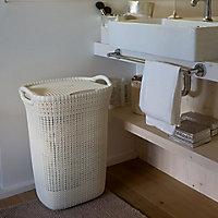 Knit collection White 57L Plastic Storage basket (H)610mm (W)450mm