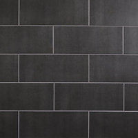 Konkrete Anthracite Matt Concrete effect Ceramic Wall tile, Pack of 14, (L)500mm (W)200mm