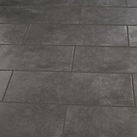 Konkrete Anthracite Matt Concrete effect Ceramic Wall tile, Pack of 8, (L)600mm (W)200mm