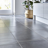 Konkrete Anthracite Matt Concrete effect Porcelain Floor tile, Pack of 4, (L)616mm (W)616mm