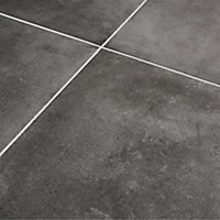 Konkrete Anthracite Matt Concrete effect Porcelain Outdoor Floor tile, Pack of 3, (L)610mm (W)610mm
