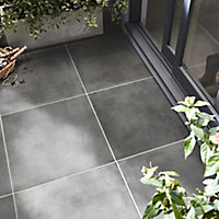 Konkrete Anthracite Matt Concrete effect Porcelain Outdoor Wall & floor Tile, Pack of 3, (L)610mm (W)610mm