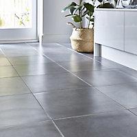 Konkrete Anthracite Matt Concrete effect Porcelain Wall & floor Tile, Pack of 4, (L)616mm (W)616mm