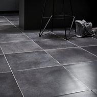 Konkrete Anthracite Matt Modern Concrete effect Porcelain Floor tile, Pack of 10, (L)426mm (W)426mm