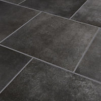 Konkrete Anthracite Matt Modern Concrete effect Porcelain Floor tile, Pack of 10, (L)426mm (W)426mm