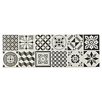 Konkrete Black & white Matt Concrete effect Ceramic Wall tile, Pack of 8, (L)600mm (W)200mm