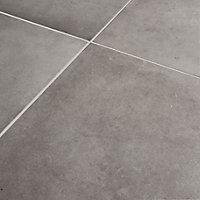 Konkrete Grey Matt Concrete effect Porcelain Wall & floor Tile, Pack of 4, (L)616mm (W)616mm