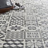 Konkrete Grey Matt Décor mix Porcelain Floor tile, Pack of 34, (L)200mm (W)200mm