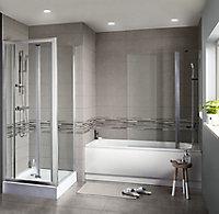 Konkrete Grey Matt Konkrete Concrete effect Ceramic Wall Tile, Pack of 8, (L)600mm (W)200mm