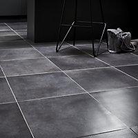 Konkrete Grey Matt Modern Concrete effect Porcelain Floor tile, Pack of 10, (L)426mm (W)426mm