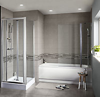 Konkrete Grey Matt Modern Concrete effect Porcelain Wall & floor Tile, Pack of 8, (L)307mm (W)617mm