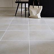 Konkrete Ivory Matt Concrete effect Porcelain Floor tile, Pack of 4, (L)616mm (W)616mm