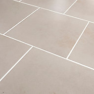 Konkrete Ivory Matt Modern Concrete effect Porcelain Floor tile, Pack of 10, (L)426mm (W)426mm