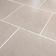Konkrete Ivory Matt Modern Concrete effect Porcelain Floor tile, Pack of 10, (L)426mm (W)426mm