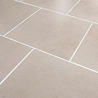 Konkrete Ivory Matt Modern Concrete effect Porcelain Wall & floor Tile, Pack of 10, (L)426mm (W)426mm