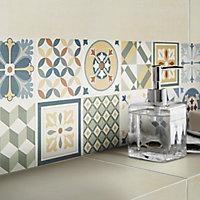 Konkrete Multicolour Matt 3D decor Concrete effect Ceramic Wall Tile, Pack of 8, (L)600mm (W)200mm