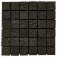 Kontainer Anthracite Concrete effect Porcelain Mosaic tile sheets, (L)305mm (W)305mm