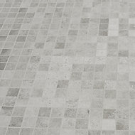 Kontainer Light grey Matt Concrete effect Porcelain 5x5 Mosaic tile sheet, (L)305mm (W)305mm