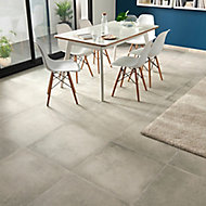 Kontainer Light grey Matt Concrete effect Porcelain Floor tile, Pack of 3, (L)590mm (W)590mm