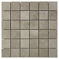 Kontainer Medium grey Concrete effect Porcelain Mosaic tile sheets, (L)305mm (W)305mm