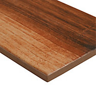 Kontainer Walnut High gloss Natural Wood effect Porcelain Floor Tile Sample