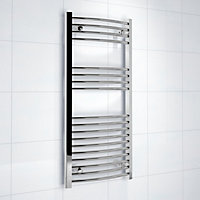 Kudox 243W Silver Towel heater (H)1000mm (W)450mm
