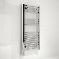 Kudox 300W Electric Silver Towel warmer (H)1000mm (W)450mm