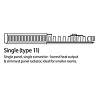 Kudox Type 11 Single Panel Radiator, White (W)400mm (H)600mm