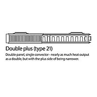 Kudox Type 21 Double plus Panel Radiator, White (W)1200mm (H)600mm