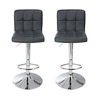 Lagan Dark grey Adjustable Swivel Bar stool, Set of 2