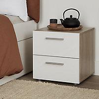 Lamego Matt & high gloss white oak effect 2 Drawer Bedside table (H)423mm (W)400mm (D)402.5mm