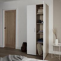Lamego Modern Matt & high gloss white oak effect Double Wardrobe (H)2009mm (W)787mm (D)497.5mm