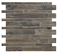 Lampang Wood effect Glass Mosaic tile, (L)302mm (W)298mm