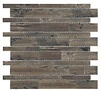 Lampang Wood effect Glass Mosaic tile, (L)302mm (W)298mm