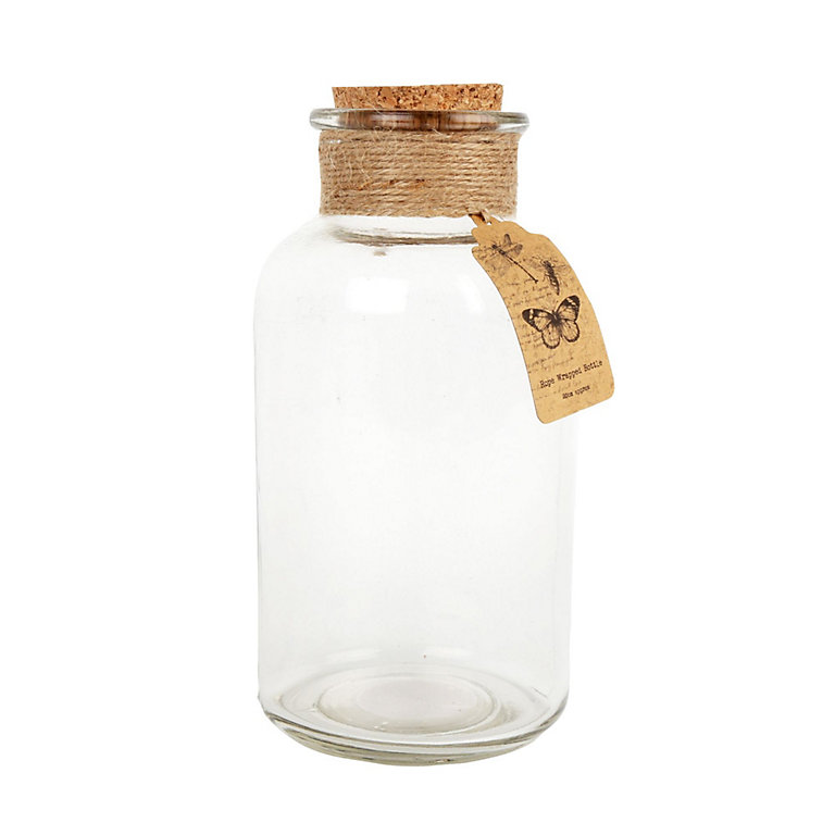 Large Hessian Wrapped Glass Bottle Clear Diy At B Q